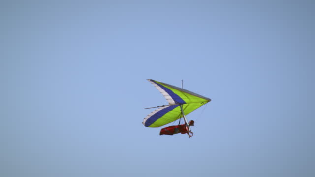 Shot of hang glider flying through the air.