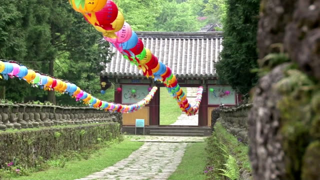MS Shot of Hanging paper lantern at gwaneumsa / Jeju, Jeju-do, South Korea