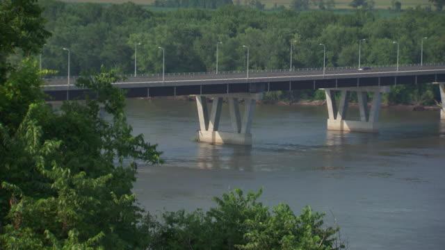 ms shot of hannibal mississippi river bridge / hannibal, missouri, united states - mark twain stock videos & royalty-free footage