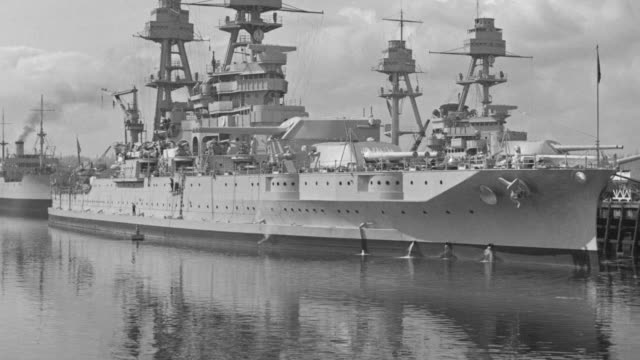 ws shot of harbor in bermerton with warship in port - warship stock videos & royalty-free footage