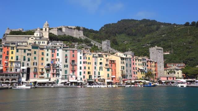 ws shot of harbour, ligurian coast, mediterranean sea / portovenere, liguria, italy - liguria stock videos & royalty-free footage