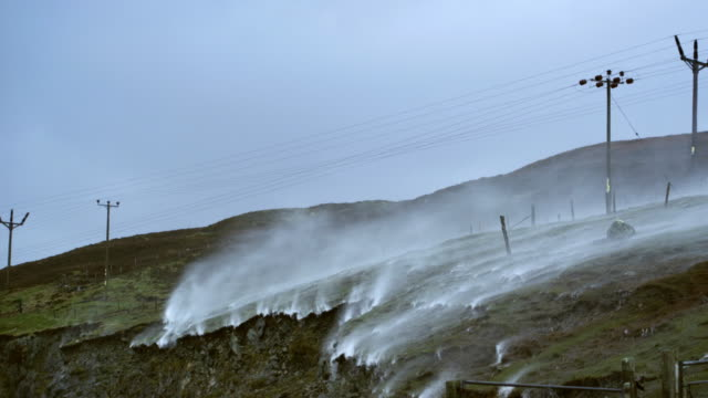 MS PAN Shot of heathland and power lines hit by storm / Lewis Island, Scotland, United Kingdom