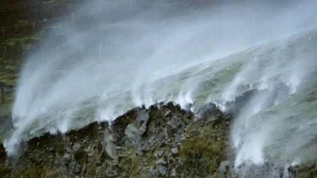 MS SLO MO PAN Shot of heathland hit by storm / Lewis Island, Scotland, United Kingdom