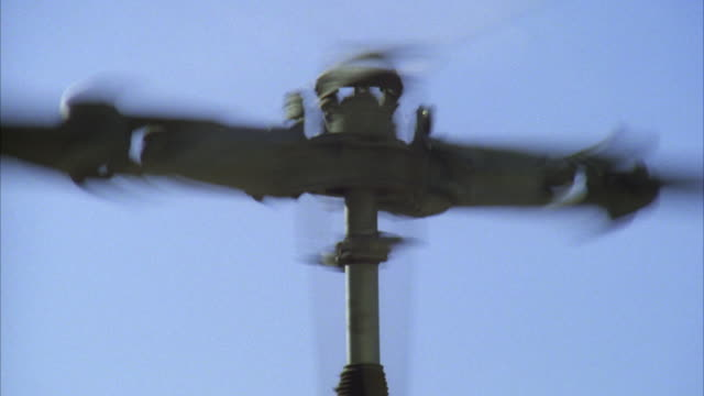 ms zo shot of helicopter main rotor - blade stock videos & royalty-free footage