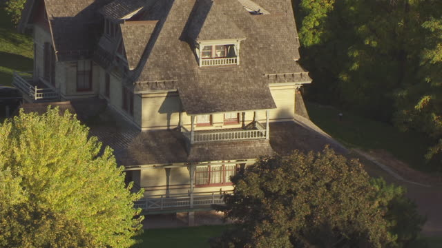 CU AERIAL Shot of Historic Hearthstone Home / Appleton, Wisconsin, United States