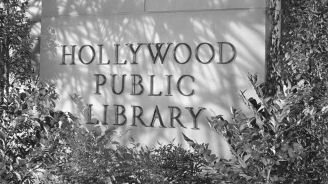 MS Shot of Hollywood Public Library sign