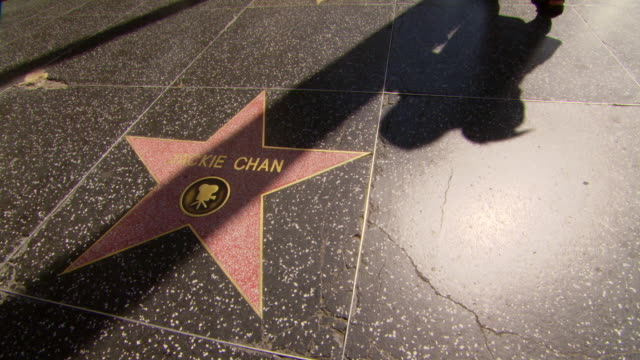 ms shot of hollywood walk of fame - jackie chan / los angeles, california, united states - walk of fame stock videos & royalty-free footage