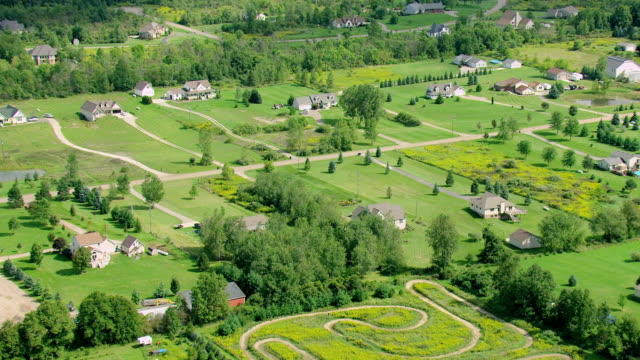 ms aerial shot of homes in oakland county farmland / michigan, united state - michigan stock videos & royalty-free footage