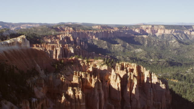 WS Shot of hoodoos and tree-lined valley / Bryce Canyon, Utah, United States