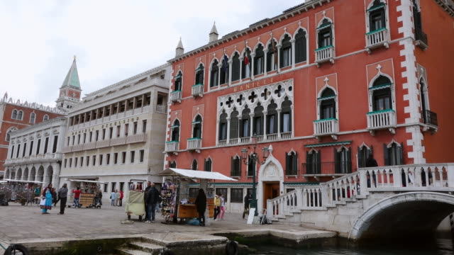 WS Shot of Hotel Danieli, Molo Riva degli Schiavoni / Venice, Veneto, Italy