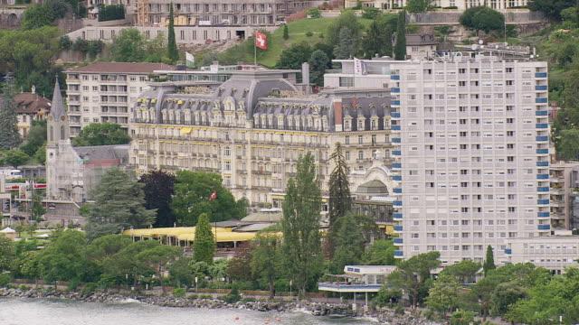 vidéos et rushes de ms aerial shot of hotel in montreux / vaud, switzerland - montreux