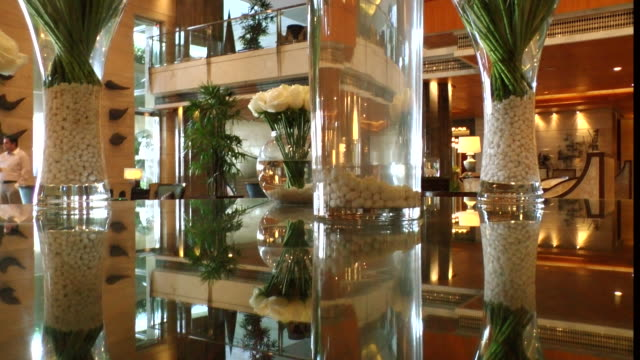 ms shot of hotel lobby / delhi, india - ロビー点の映像素材/bロール