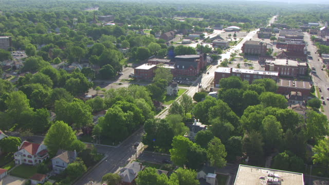 ws aerial td shot of house of harry s truman / independence, missouri, united states - missouri stock videos and b-roll footage