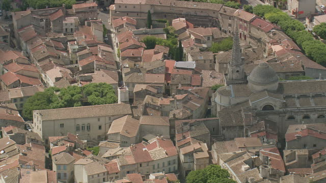 MS AERIAL ZO Shot of houses and road in St Remy De Provence / Provence Alpes Cote D'Azur, France