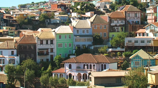 MS Shot of Houses in City / Valparaiso, Chile