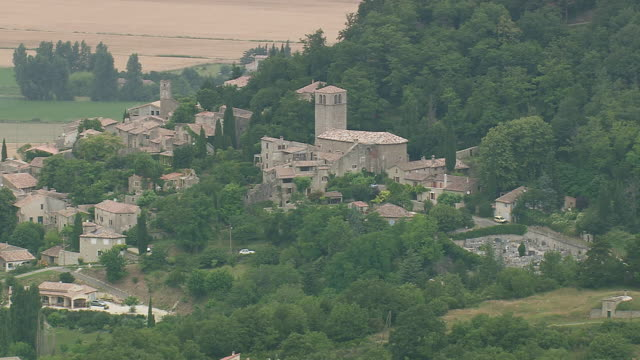 MS AERIAL Shot of houses in La Begude de Mazenc / Rhone Alpes, France