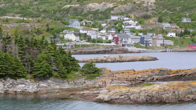ws shot of houses in town / brigus, newfoundland, canada - atlantic ocean stock videos & royalty-free footage