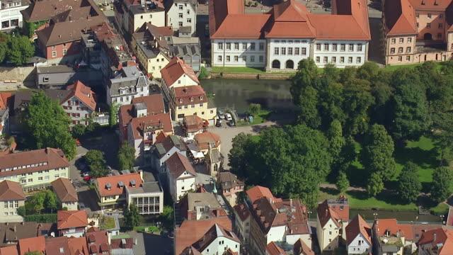 MS AERIAL PAN ZI Shot of Houses with river in Stuttgart Region / Esslingen, Baden Wurttemberg, Germany