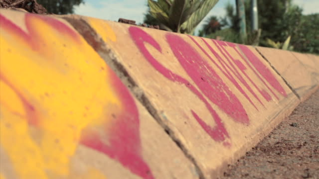 cu shot of 'i love soweto' painted on to sidewalk / johannesburg, gauteng, south africa - soweto stock videos & royalty-free footage