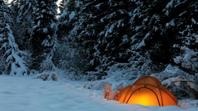 ms shot of illuminated tent in winter camping in flathead national forest / montana, united states - tält bildbanksvideor och videomaterial från bakom kulisserna