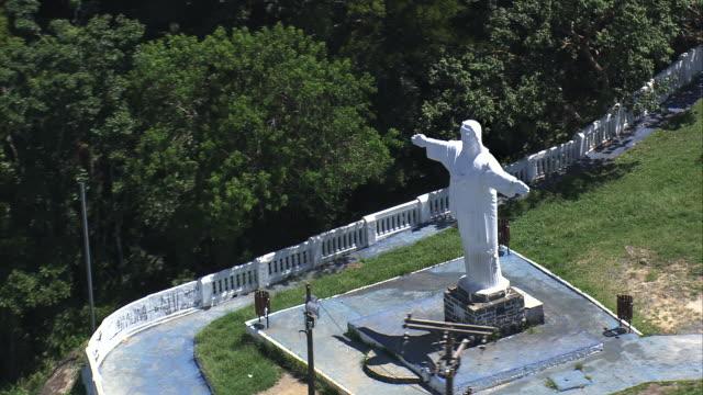 MS AERIAL TS DS ZO Shot of Imagem do Cristo statue at Iguape / Sao Paulo, Brazil
