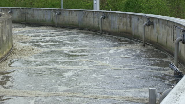 MS Shot of Impure water in clarifying basin at purification plant / Konz, Rhineland-Palatinate, Germany