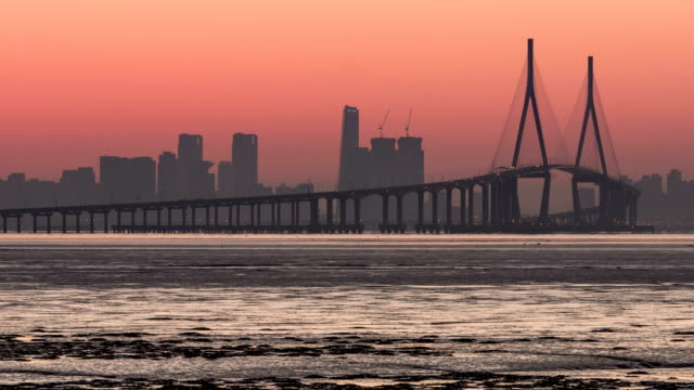 shot of incheon bridge and songdo from mud flat at dawn - mud flat stock videos & royalty-free footage
