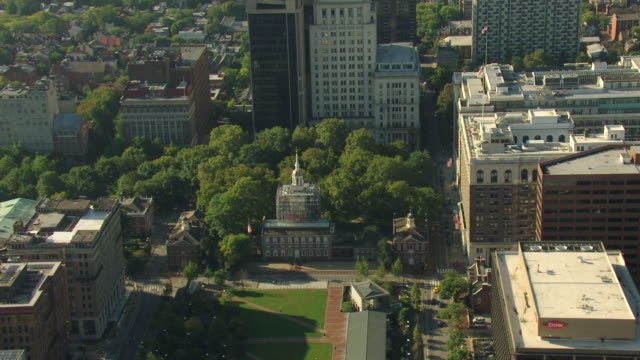 ms aerial shot of independence hall in downtown and schuylkill river / philadelphia, pennsylvania, united states - independence hall stock videos and b-roll footage