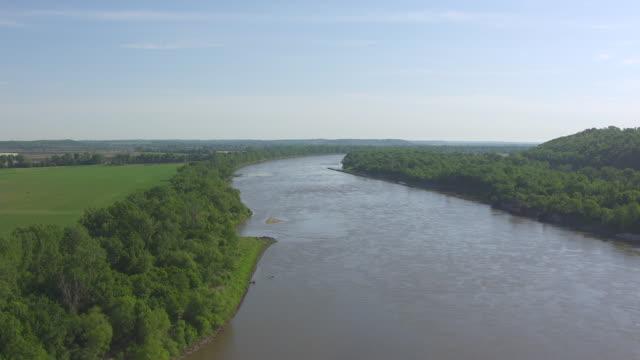 WS AERIAL TD Shot of Independence Landing across Missouri river / Missouri, United States