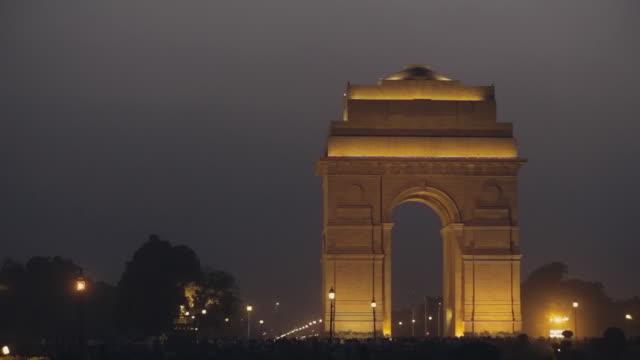 WS Shot of India Gate at night / New Delhi, India