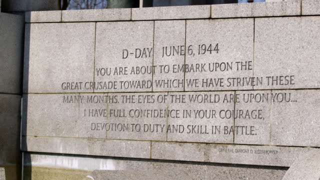 ws pan shot of inscription on northern wall of national world war ii memorial showing d day quote by general dwight d eisenhower / washington, district of columbia, united states - d day stock videos and b-roll footage