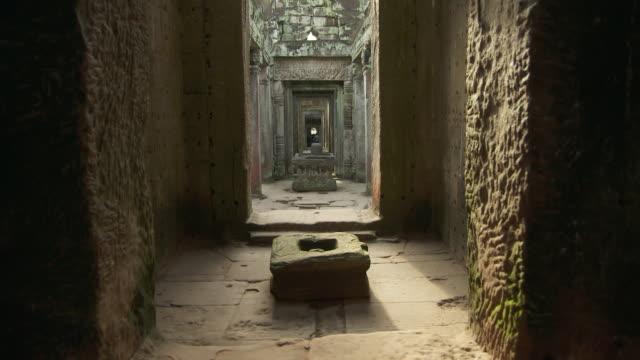 MS TU TD Shot of inside chambers of Preah Khan Temple in Angkor / Siem Reap, Siem Reap Province, Cambodia