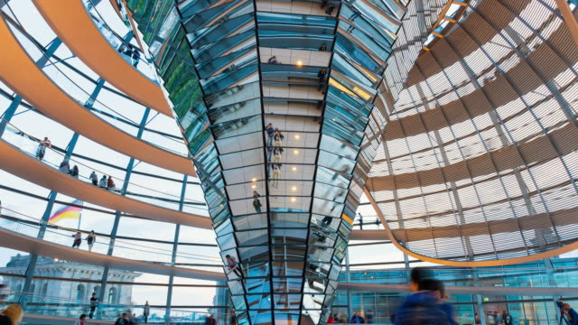 cu t/l zo la shot of inside of reichstag dome, the reichstag building with people / berlin, germany - cupola video stock e b–roll