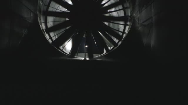 WS TU Shot of inside wind tunnel and spinning fan / Delft, Netherlands