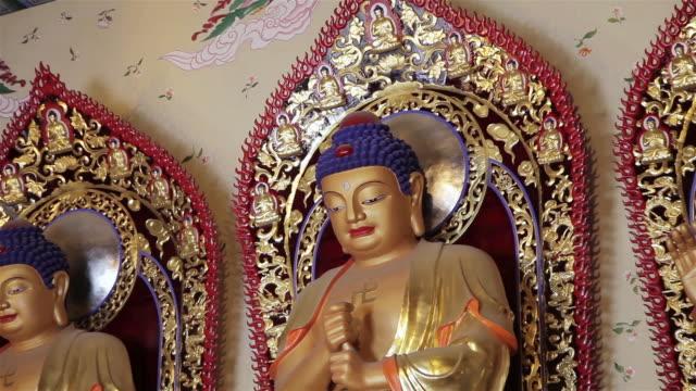 cu zo shot of interior of buddhist temple / xian, shaanxi, china - figura maschile video stock e b–roll