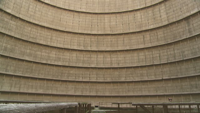 ms td shot of interior of cooling tower / charleroi, hainaut, belgium - nuclear power station stock videos & royalty-free footage