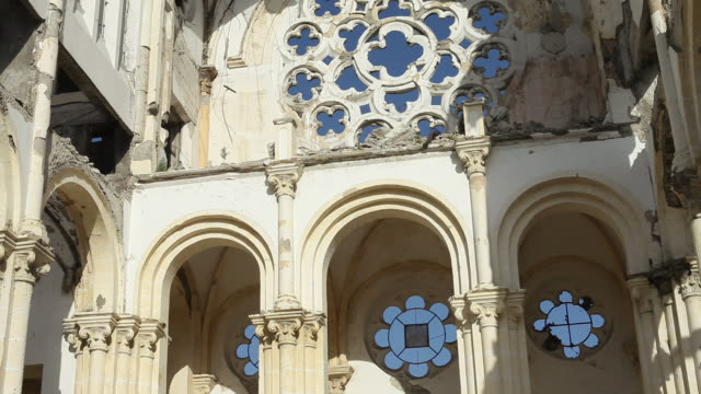 MS Shot of Interior of destroying cathedral of our Lady of assumption showing missing windows and roof / Port-au-Prince, Haiti