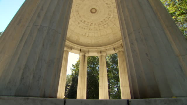 ms tu shot of interior of district of columbia war memorial with trees surrounding and natural lighting / washington, district of columbia, united states - memorial stock videos & royalty-free footage