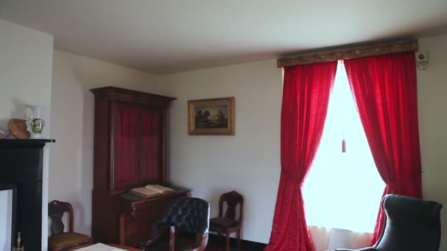 MS PAN Shot of Interior of McLean House with period furniture / Appomattox, Virginia, United States