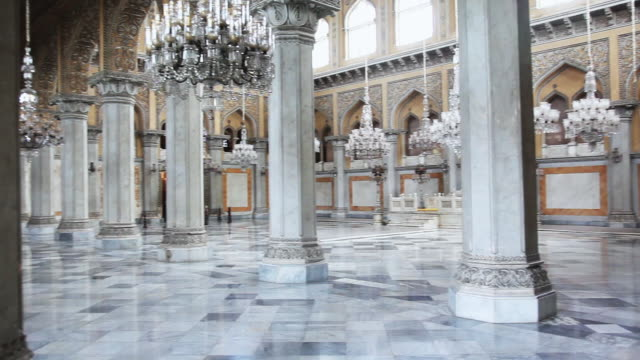 ms pan shot of interiors of chowmahalla palace / hyderabad, andhra pradesh, india - palace stock-videos und b-roll-filmmaterial