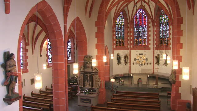 ms shot of internal space of church / saarburg-beurig, rhineland palatinate, germany - altare video stock e b–roll