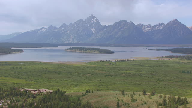 WS AERIAL Shot of Jackson Lake Lodge with Tetons from Lodge / Jackson Wyoming United States