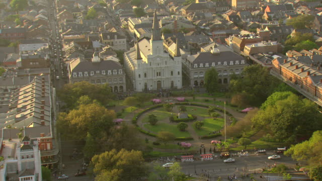 WS AERIAL Shot of jackson square with andrew jackson statue / New Orleans, Louisiana, United States