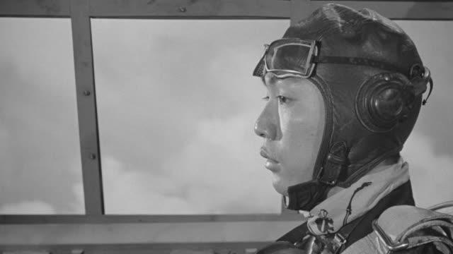 MS Shot of Japanese zero in flight