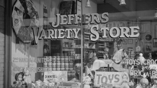 ms shot of jeffers variety toy store - toy store stock videos and b-roll footage
