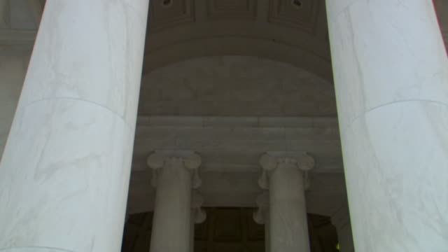 ms td shot of jefferson statue in interior of jefferson memorial / washington, district of columbia, united states - architectural column stock videos & royalty-free footage