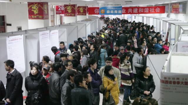 MS Shot of job seeker attending employment fair / xi'an, shaanxi, china