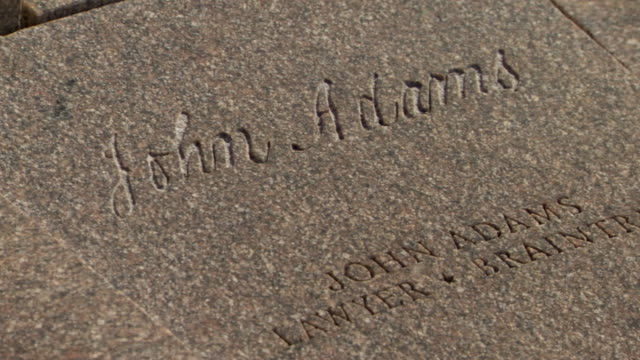 stockvideo's en b-roll-footage met cu shot of john adams signature in stone at constitution gardens / washington, district of columbia, united states - president