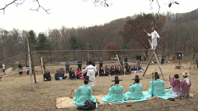 ms zi shot of jultagi (korean tradition of tightrope walking) / gwacheon kyonggi-do province south korea - kyonggi do province stock videos and b-roll footage