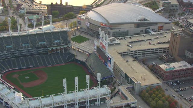 ws ds zi aerial shot of jumbotron and cleveland indians sign at progressive field / cleveland, ohio, united states - cleveland stock videos and b-roll footage